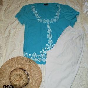 Festive Aqua Embroidered Blouse